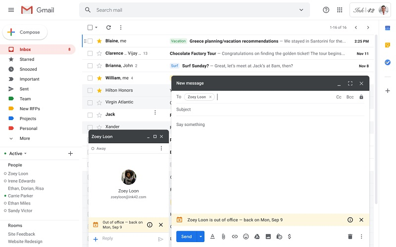 out of office feature in gmail arrives